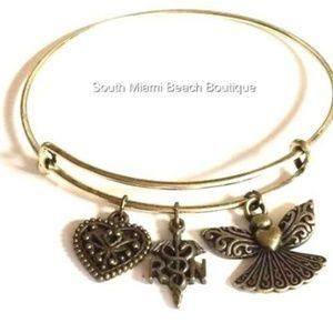 Jewelry - Gold RN Nursing Caduceus Charm Bracelet Nurse